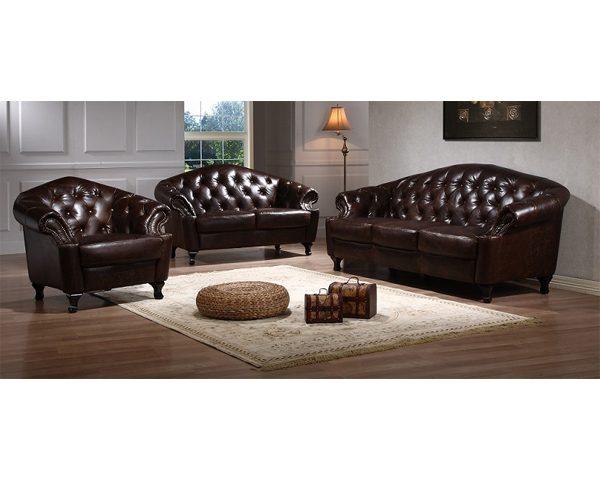 Full Leather Sofa Set